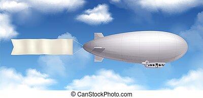 Dirigible Realistic Composition - Dirigible airship ...