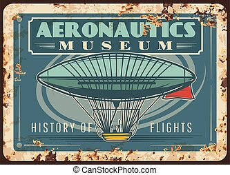 Dirigible rusty metal plate, vector rust tin sign with ...