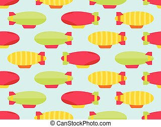 Dirigible seamless pattern. Colorful airships. Vector ...