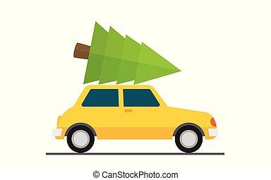 dirigido, car, árvore., natal