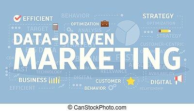 dirigido, dados, marketing.