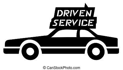 dirigido, serviço carro