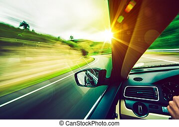 dirigindo, baixo, a, estrada