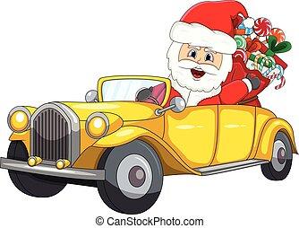 dirigindo, car, claus, natal, santa, caricatura