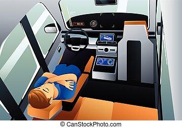 dirigindo, car, próprio, ilustração, dormir, homem
