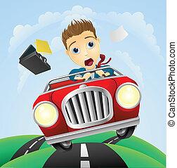 dirigindo, carro clássico, jovem, rapidamente, homem...