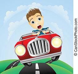 dirigindo, carro clássico, jovem, rapidamente, homem