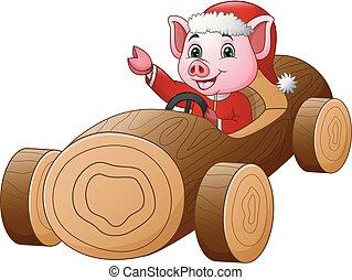 dirigindo, carro madeira, porca, traje, santa, caricatura, vermelho