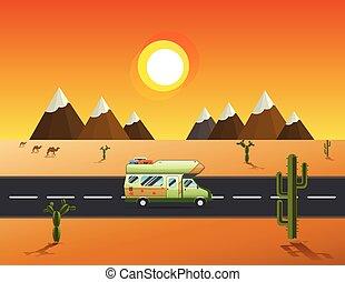dirigindo, deserto, caminhão, viajante, mountainslandscape, estrada