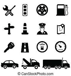 dirigindo, e, tráfego, ícones