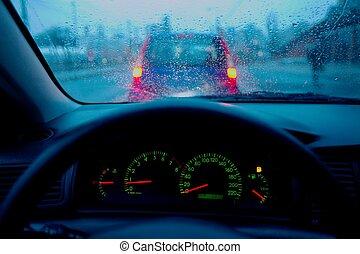 dirigindo, em, chuva