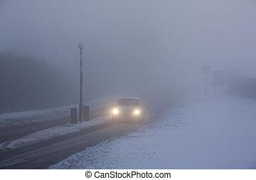 dirigindo, em, congelação, nevoeiro, -, reino unido
