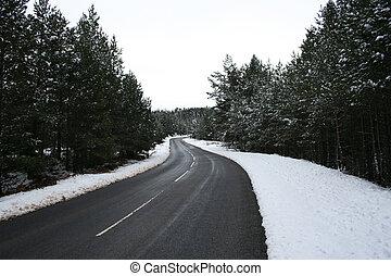 dirigindo, em, inverno