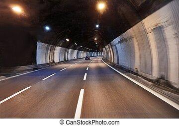 dirigindo, em, um, túnel