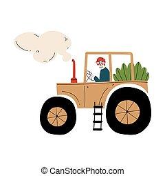 dirigindo, fazenda, seedlings, trabalhador, ilustração, vetorial, agricultor, agrícola, macho, trator