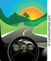 dirigindo, ligado, estrada longa