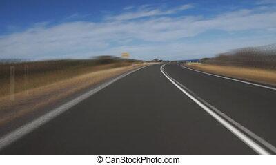dirigindo, ligado, grande estrada oceano