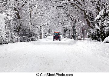 dirigindo, neve, baixo, trator, coberto, estrada