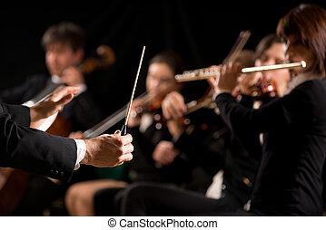 dirigindo, orquestra sinfonia, condutor