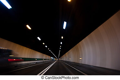 dirigindo, túnel, car, movimento, através, borrão, velocidade