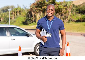 dirigindo, testar, americano, africano, instrutor, chão