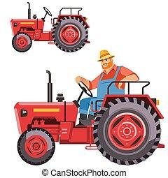dirigindo, trator, agricultor
