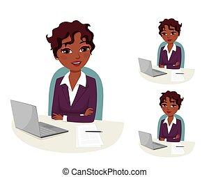 dirigir, corporación mercantil de mujer, confiado, trabajo, ...