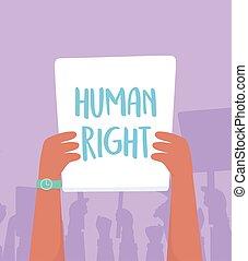 diritti, manifestazione, lotta, braccio elevato, protesta, activists, didascalia