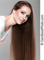diritto, donna, baluginante, lungo, hair.