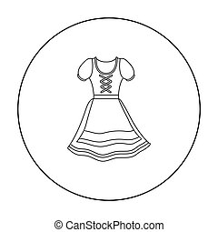 Dirndl icon in outline style isolated on white background....