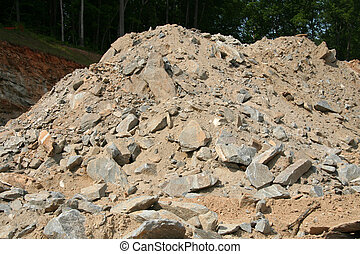 Dirt and rubble pile at a construction site