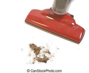 vacuum cleaner - dirt being picked up by a red vacuum ...