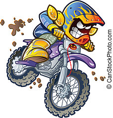 Dirt Bike Motorcycle Rider Making an Extreme Jump and Splashing in the Mud