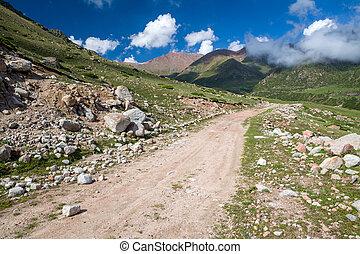 Dirt mountain road. Kyrgyzstan
