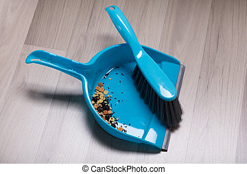 Dirt On Plastic Sweeping Dust Pan And Brush - Dirt Collected...