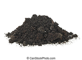 Dirt, pile of soil isolated on a white background.