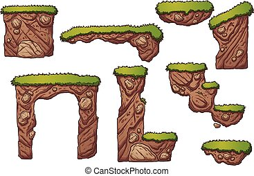 Dirt platforms - Grass and dirt platforms. Vector clip art...