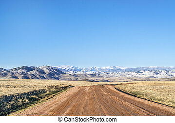 Dirt ranch road at Colorado foothills