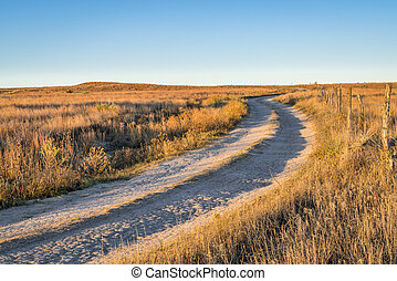 dirt ranch road in prairie of western Kansas