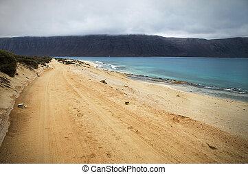 Dirt road along the sea