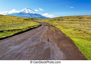 Dirt Road and Cotopaxi Volcano