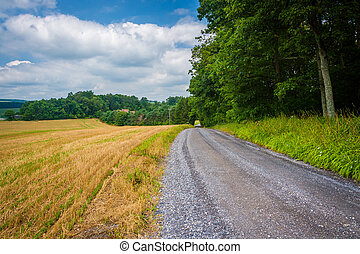 Dirt road and fields in rural Baltimore County, Maryland.