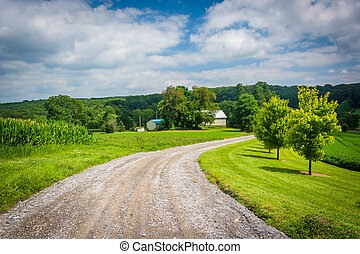 Dirt road and fields in rural Carroll County, Maryland.