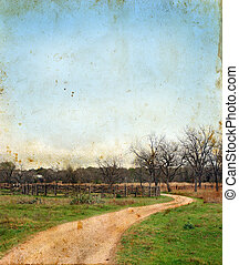 Dirt Road and Splitrail Fence on Grunge background