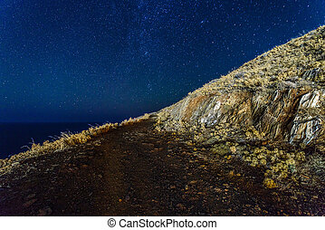 Dirt road at nigh - Dirt road in coutry under starry sky