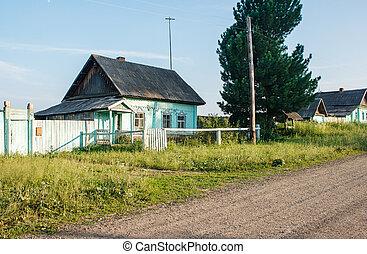 dirt road in a russian village