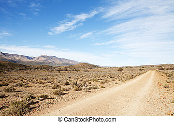 Dirt road in arid region leading away from viewer - Dirt...