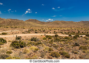 Dirt road in Cabo de Gata National Park, Andalusia, Spain