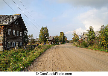 Dirt road in northern Russian village
