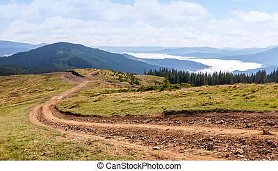 Dirt road in the Carpathian mountains.